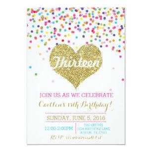 Confetti Gold Glitter Birthday Invitation