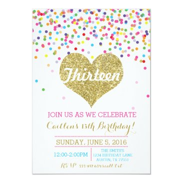 Valentines Themed Confetti Gold Glitter Birthday Invitation