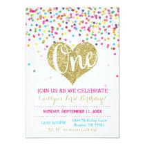 Confetti Gold Glitter First Birthday Invitation