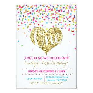colorful confetti invitations zazzle