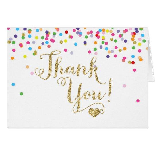 confetti gold glitter thank you note card folded zazzle com
