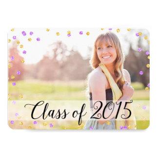 Confetti Gold Purple Photo 2015 Graduation 5x7 Paper Invitation Card