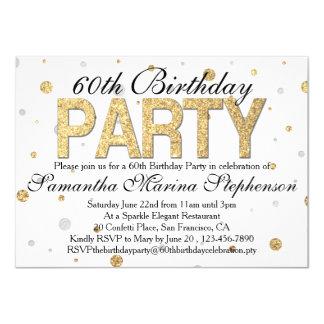 Confetti Gold Sparkle 60th Birthday Party 4.5x6.25 Paper Invitation Card
