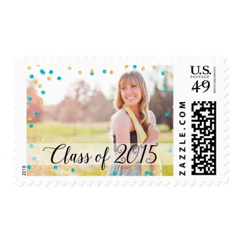 Add a 2015 postage stamp to your graduation invitations perfect confetti gold teal blue photo 2015 graduation postage stamps filmwisefo Choice Image