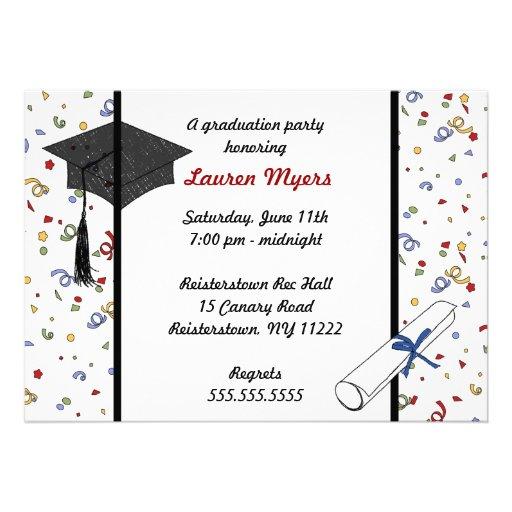 Confetti Grad Cap Diploma 2011 Invite