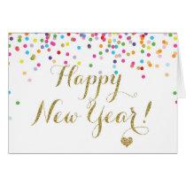 Confetti Happy New Year Note Card Half Fold