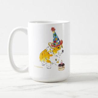 Confetti Hat Corgi Birthday Mug