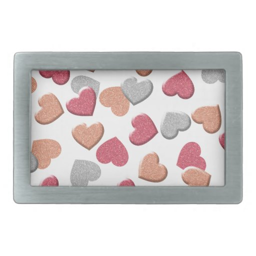 Confetti Hearts in Silver, Rose, and Gold Glitter Rectangular Belt Buckle