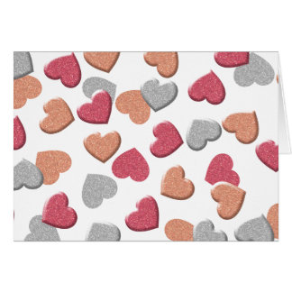 Confetti Hearts in Silver, Rose, and Gold Glitter Card