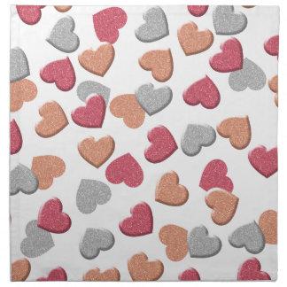Confetti Hearts in Silver, Rose, and Gold Glitter Cloth Napkin