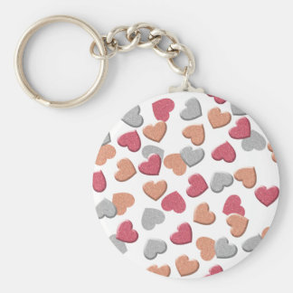 Confetti Hearts in Silver, Rose, and Gold Glitter Keychain