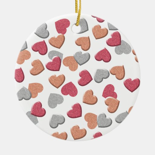 Confetti Hearts in Silver, Rose, and Gold Glitter Double-Sided Ceramic Round Christmas Ornament