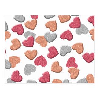 Confetti Hearts in Silver, Rose, and Gold Glitter Postcard