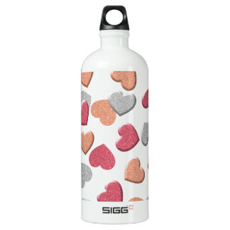 Confetti Hearts in Silver, Rose, and Gold Glitter Water Bottle