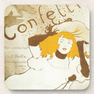 Confetti Henri de Toulouse Lautrec illustration Drink Coaster
