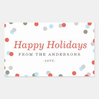 Confetti Holiday Rectangular Sticker