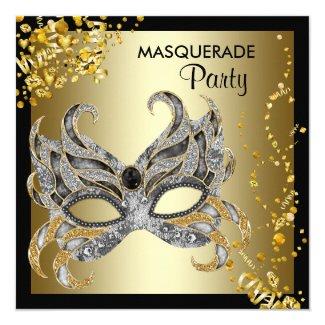 Confetti Mask Black Gold Masquerade Party Invitation