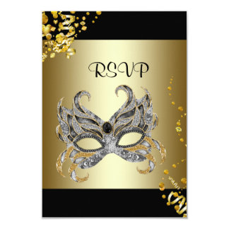 Confetti Mask Black Gold Masquerade Party RSVP Card