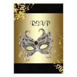 Confetti Mask Black Gold Masquerade Party RSVP Invitation