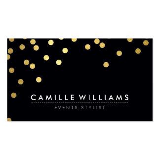 CONFETTI modern cool dot pattern gold foil black Business Card Template