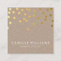 CONFETTI modern cute dot pattern gold foil kraft Square Business Card
