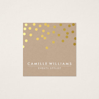 CONFETTI modern cute dot pattern gold foil kraft Square Business Card