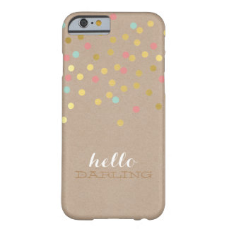 CONFETTI modern cute pattern gold coral mint kraft Barely There iPhone 6 Case
