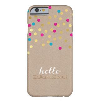CONFETTI modern cute pattern gold pink aqua kraft Barely There iPhone 6 Case