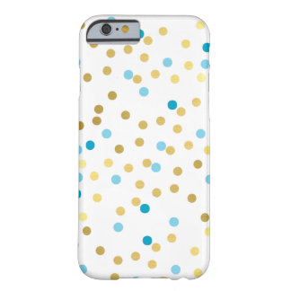 CONFETTI modern cute pattern gold turquoise blue Barely There iPhone 6 Case