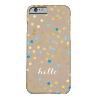 CONFETTI modern cute pattern gold turquoise kraft Barely There iPhone 6 Case