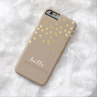 CONFETTI modern cute pattern shiny gold foil kraft Barely There iPhone 6 Case