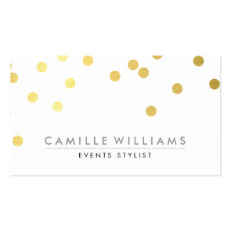 CONFETTI modern cute polka dot pattern gold foil Double-Sided Standard Business Cards (Pack Of 100)
