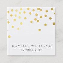 CONFETTI modern cute polka dot pattern gold foil Square Business Card