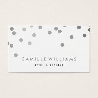 CONFETTI modern cute polka dot pattern silver foil Business Card