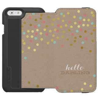 CONFETTI modern cute shiny gold coral mint kraft iPhone 6/6s Wallet Case