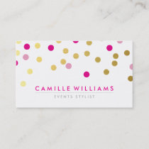 CONFETTI modern cute spot pattern gold pretty pink Business Card
