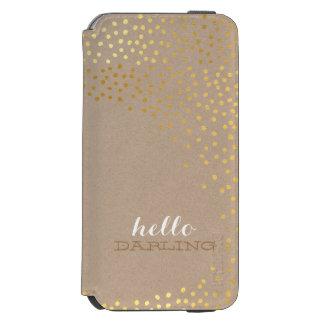 CONFETTI modern rustic faux shiny gold foil kraft iPhone 6/6s Wallet Case