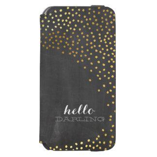 CONFETTI modern rustic shiny gold foil chalkboard iPhone 6/6s Wallet Case