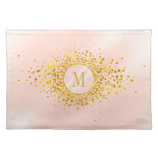 Confetti Monogram Rose Gold Foil ID445 Cloth Placemat