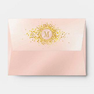 Confetti Monogram Rose Gold Foil ID445 Envelope