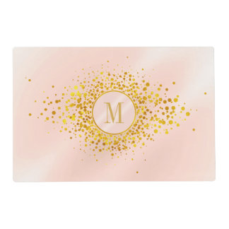 Confetti Monogram Rose Gold Foil ID445 Placemat