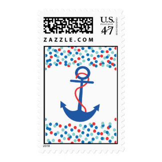 Confetti Nautical Anchor Baby Shower Postage Stamp