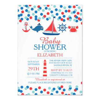 """Confetti Nautical Boys Baby Shower Invitation 5"""" X 7"""" Invitation Card"""