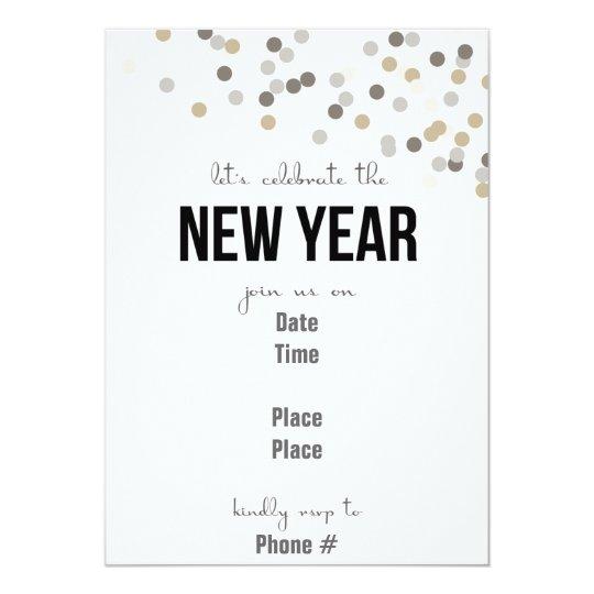 Confetti New Year Printable Invitation