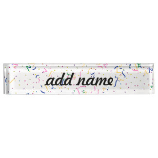 Confetti on Blank (Add A Background  Color) Nameplate