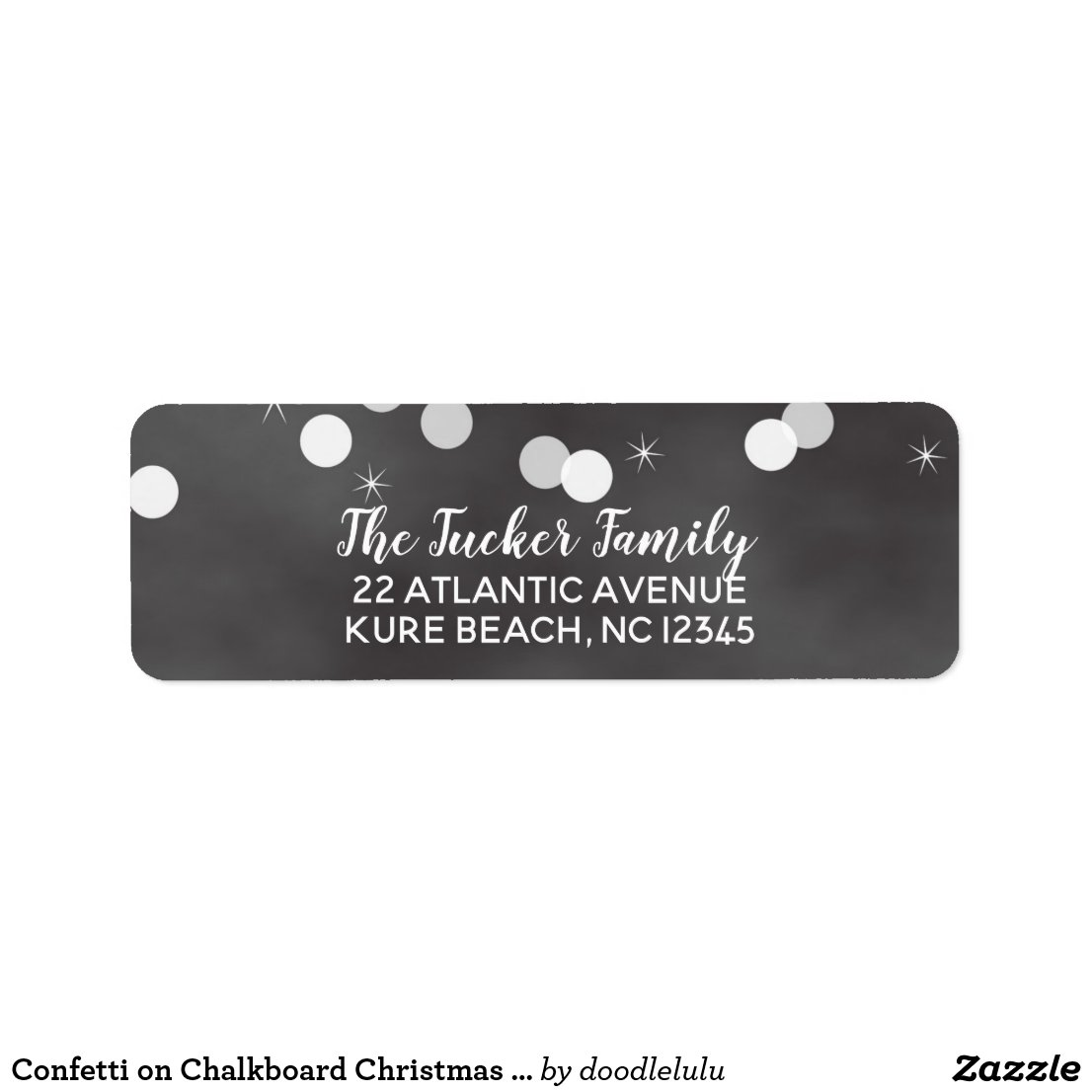 Confetti on Chalkboard Christmas address Label