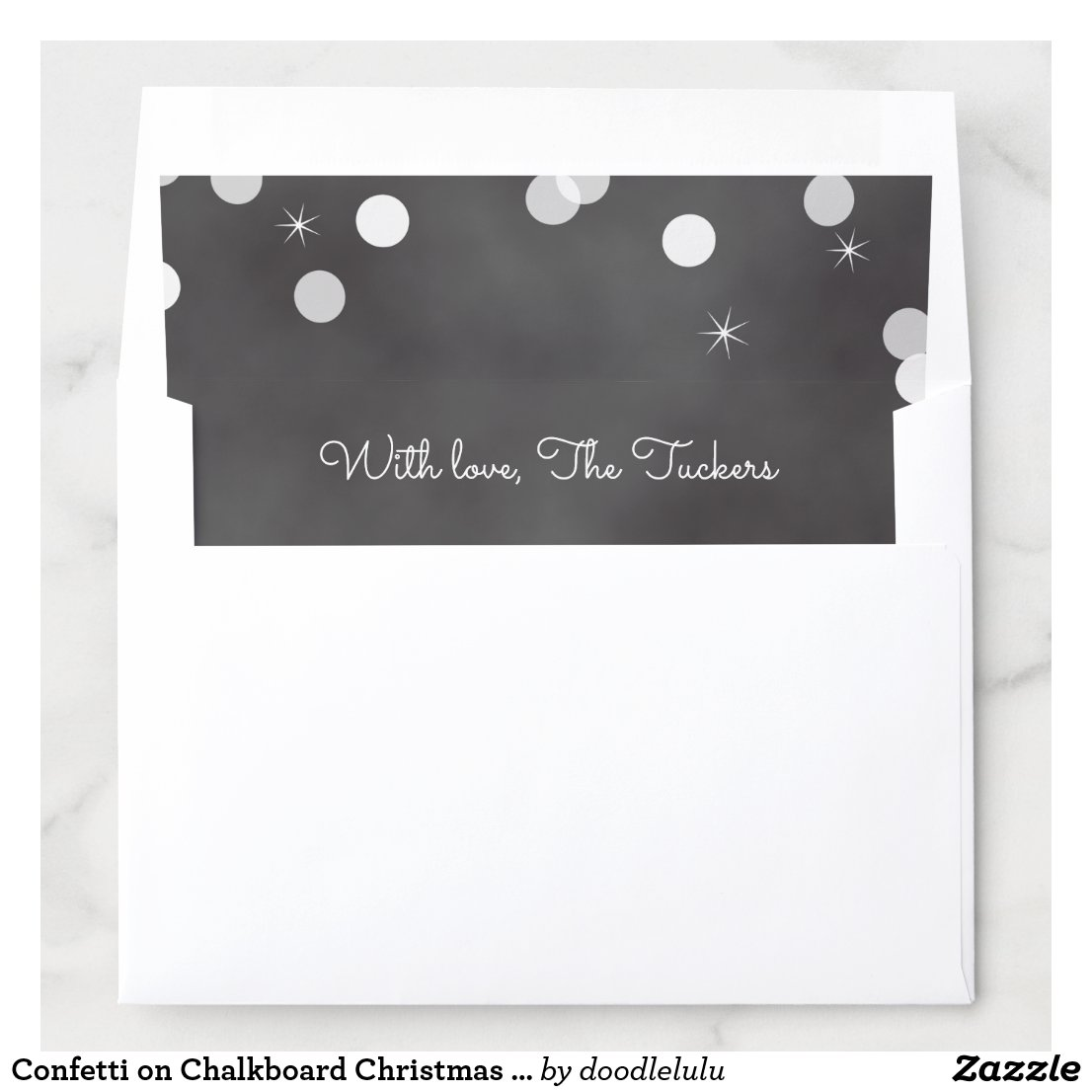 Confetti on Chalkboard Christmas Card Envelope Liner