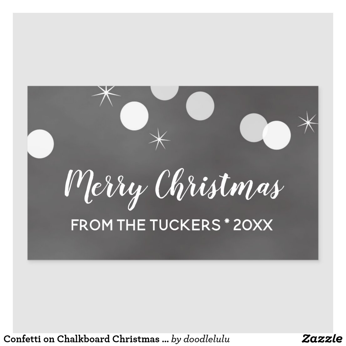 Confetti on Chalkboard Christmas Tag