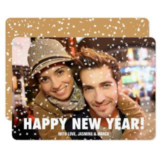 Confetti Overlay Happy New Year Horizontal Card