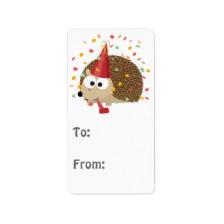 Confetti Party Hedgehog Label